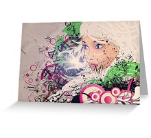 Girl with white hair and text explosion effect Greeting Card