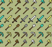 Minecraft Sword and Tool Pattern by halegrafx