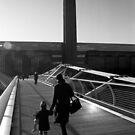 Pedestrians on the Millenium Bridge by John Violet