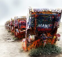 cadillac ranch, route 66, amarillo, texas by brian gregory