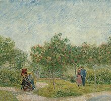 Vincent van Gogh - Garden in Montmarte with lovers - 1887 by forthwith