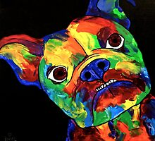 Painted Multi Colour British Bulldog by Rachel  Weaver