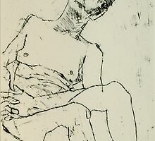 fara monoprint - sitting with clasped hands by donnamalone