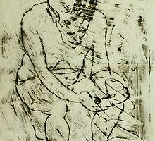 fara monoprint sitting forward with phone by donnamalone