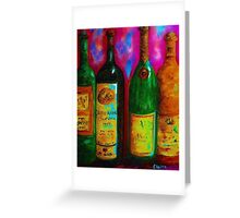 Wine Bottle Quartet on a Blue Patched Wall Greeting Card