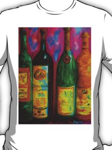 Wine Bottle Quartet on a Blue Patched Wall T-Shirt