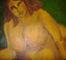Nude in Yellow (Jan 2008 Acrylic on paper) Alison B Allen by fatchickengirl