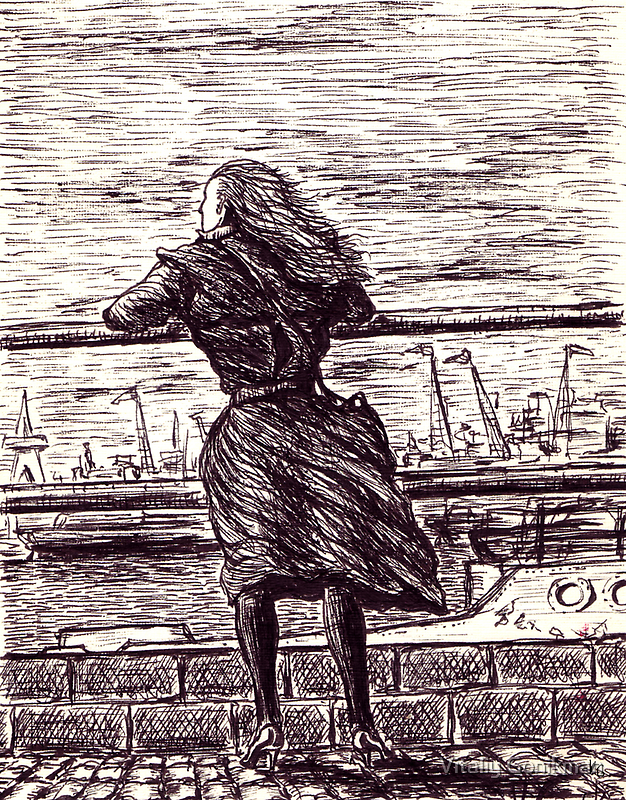 Wind in the port. Black and white pen ink drawing by Vitaliy Gonikman