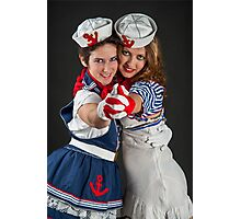 two fancy dress female sailors  Photographic Print