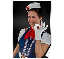 Fancy dress female sailor OK gesture  Poster