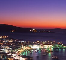 Greece. Mykonos Town Harbour at dusk by Steve Outram
