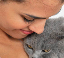 fond female owner with her British Shorthair cat Sticker
