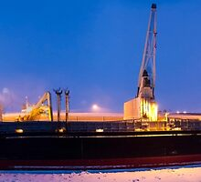 Icebreaker ship at night. Photographed in the arctic circle, Lapland Sweden by PhotoStock-Isra