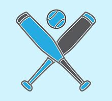 Two baseball bats crosses with baseball in blue by jazzydevil