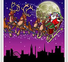 Here comes Santa Claus - Newcastle skyline by Richard Bell