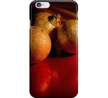 Christmas golden baubles on red background iPhone Case/Skin