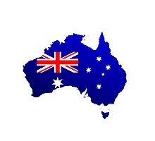 Australia Map with National Flag Photographic Print