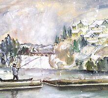The Rhine Falls In Switzerland In Winter by Goodaboom