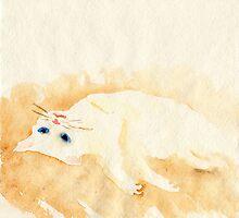White cat lying on the floor by YumiKudo