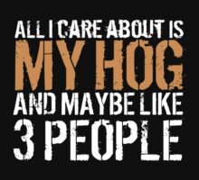 Limited Edition 'All I Care About is My Hog and Maybe Like 3 People' Funny T-Shirt by Albany Retro