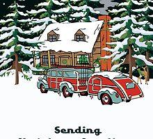 Sending Christmas Greetings Winter Cabin With Woodie by Gear4Gearheads