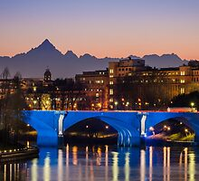 Turin (Torino), river Po and Monviso at sunset by MarcoSaracco