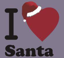 I Love Santa ( Black Text T-Shirt & Sticker) Kids Clothes