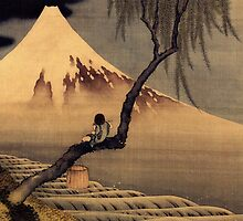 'Boy In Front Of Fujiama' by Katsushika Hokusai (Reproduction) by Roz Abellera Art