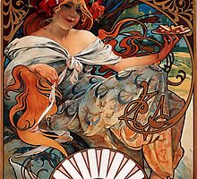 'Biscuits Lefevre-Utile' by Alphonse Mucha (Reproduction) by Roz Abellera Art