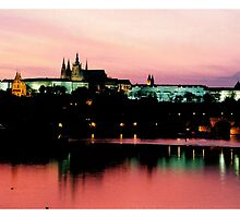 Prague Castle, pink sky by Ranald