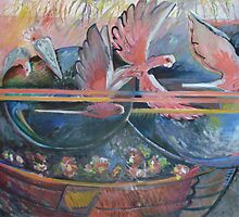 Galahs over the Water Bath  by Moira  McClaren
