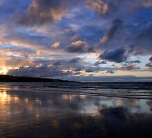 Sunset at Ahipara, Ninety Mile Beach, New Zealand by Victoria Ashman