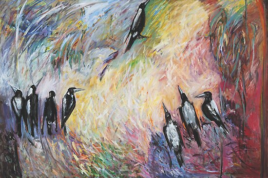 Morning Magpies by Moira  McClaren