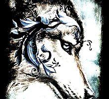 Wolf with Blue Eyes by Kara  Davison