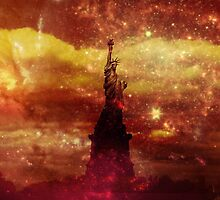 Lady Liberty red and yellow stars by stine1