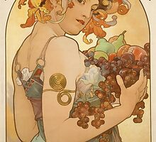 'Fruit' by Alphonse Mucha (Reproduction) by Roz Abellera Art