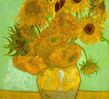 'Twelve Sunflowers' by Vincent Van Gogh (Reproduction) by Roz Abellera Art