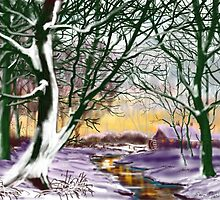 """Cottage at Twilight"" by GlennMarshall"