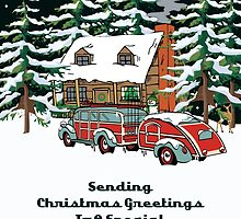 Cousin And Her Fiance Sending Christmas Greetings Card by Gear4Gearheads