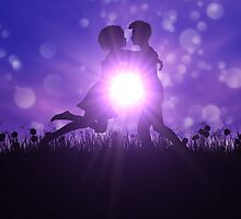 Couple silhouette on grass field by AnnArtshock