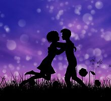 Couple silhouette on grass field 2 by AnnArtshock