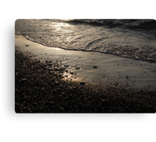 Golden Foam and Pebbles - Early Light at the Breakwater Canvas Print