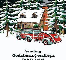 Friend & Her Girlfriend Sending Christmas Greetings Card by Gear4Gearheads