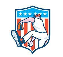 Baseball Pitcher Outfielder Throwing Ball Shield Cartoon by patrimonio