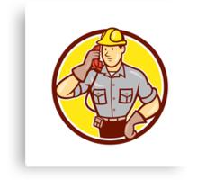 Telephone Repairman Phone Circle Cartoon  Canvas Print