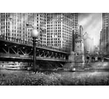 Chicago, IL - DuSable Bridge built in 1920  - BW Photographic Print