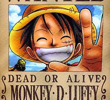 WANTED ! Monkey D Luffy - One Piece by Amyne