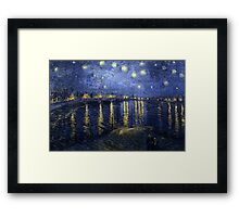'Starry Night Over The Rhone' by Vincent Van Gogh (Reproduction) Framed Print