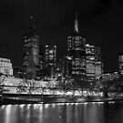 Melbourne by Night BW by DavidsArt