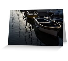 Charming Old Wooden Boats in the Harbor Greeting Card